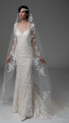 jillian 2017 bridal long sleeves scallop v neck full embellishment elegant lace wedding dress illusion back chapel train (mina) mv