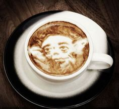 Yoda Latte Art - Mike Breach, a barista at a Manhattan hotel, began experimenting with creating drawings on the top of lattes while at work. Click the photo to view more coffee art. #starwars