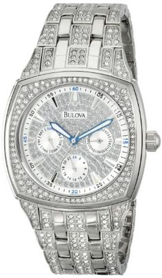 Get a men's Bulova Crystal Multifunction Watch. This watch is water-resistant to 99 feet meters), 412 individually hand set Swarovski Crystals, shows the day and date, and an accurate quartz movement. This watch goes well with many outfits. Fine Watches, Cool Watches, Watches For Men, Wrist Watches, Men's Watches, Maserati, Lacoste, Diesel, Bulova Mens Watches