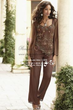 26cf3c43a1c Chocolate chiffon with delicate beading mother of the bride pant suits PS -036