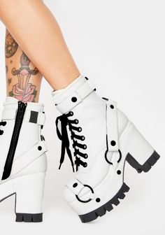 Club Exx White O-Ring Harness Platform Boots Dr Shoes, Goth Shoes, Hype Shoes, Me Too Shoes, Snakeskin Boots, Stiletto Boots, Lace Up Booties, Lace Up Shoes, Mode Converse