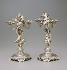 Pair of Candelabrum, c.1732 (silver) French.