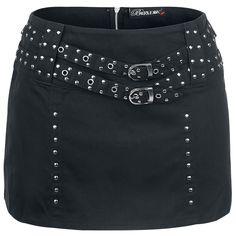 La falda cuenta con dos cinturones de tachuelas y cremallera trasera.