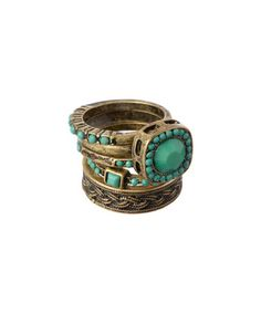 Another great find on #zulily! Gold & Green Faceted Ring Set by Lux Accessories #zulilyfinds