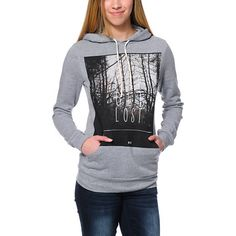Take a trip to nowhere in the Lets Get Lost Glamour Kills hoodie. With an adjustable drawstring hood, kangaroo front pocket, long sleeves, and soft fleece interior, this heather grey sweatshirt is ready for anything you can handle. Featuring a dark forest
