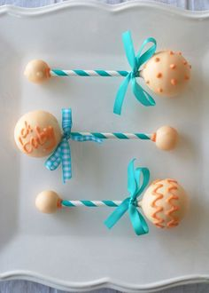 Cake Pop Rattles from a Chic Baby Shower in Aqua and Coral