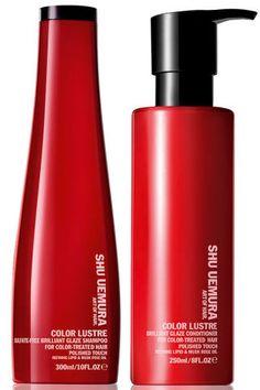 Shu Uemura Color Lustre Brilliant Glaze Shampoo, $48, and Conditioner, $58, shuuemuraartofhair-usa.com.