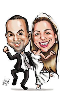 caricatura de noivos para convites de casamento