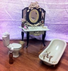 OOAK BARBIE VICTORIAN BATHROOM 1:6 SCALE FURNITURE TUB SINK TOILET ACCESSORIES