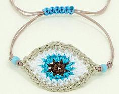 Protection Eye Bracelet, Macrame Bracelet, Evil Eye Bracelet, Evil Eye Macrame B. Bracelet Crochet, Macrame Bracelets, Crochet Earrings, Crochet Yarn, Crochet Stitches, Crochet Patterns, Knitting Needle Case, Jüngstes Kind, Evil Eye Bracelet