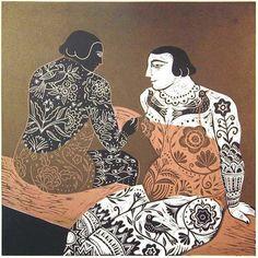'Interval' by British artist & printmaker Sarah Young. Vinyl Cut, 32 x 33 cm. Illustrations, Illustration Art, Stencil, Black White, Woodblock Print, Figurative Art, Pattern Art, Painting & Drawing, Printmaking