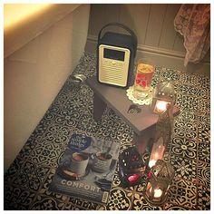 You'll find me here for the next half hour #thebuggerscanwaitfortheirtea #bathroom  #bathroomlove #tiledfloor