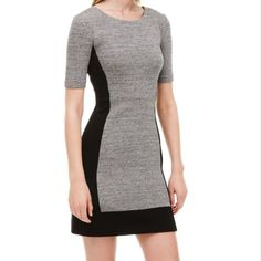 J. Crew Black & Grey Paneled Stretch Dress *PRICE DROP!* A mega comfortable stretch J. Crew grey/black paneled color block dress, size 10, never before worn (tried on only). Dress is cotton/spandex with wool/nylon panels. Transition from work to weekend seamlessly, try pairing pair with neon accessories or minimalist metallics for a glam evening look. J. Crew Dresses