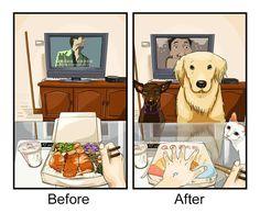 Nueve viñetas que explican lo que es la vida antes y después de tener mascota