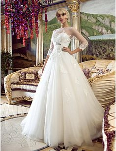 una línea princesa bateau barrido / cepillo tren vestido de novia de tul (466946) - EUR € 163.34