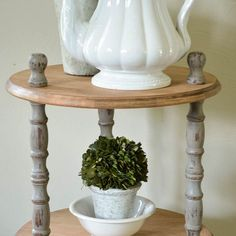 Industrial farmhouse inspired 3 shelf table