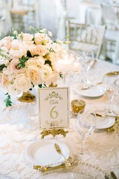 At this reception, styled by Santa Barbara's La Fete Weddings , an intricate, cream-colored plate pops between a blush-colored napkin and tablecloth. Wedding Table, Fall Wedding, Rustic Wedding, Wedding Reception, Green Wedding, Wedding Rentals, Destination Wedding, Wedding Planning, Wedding Arrangements