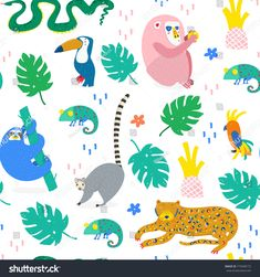 Hand drawn various jungle animals in unique trendy style. Colored vector seamless pattern