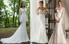 Vestido de noiva sereia com manga longa