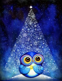 Wish Upon a Star Owl - Christmas Tree Snow Blue Bird Artwork - Fine Art Painting Print