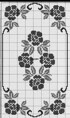 This Pin was discovered by Ays Filet Crochet Charts, Crochet Motifs, Crochet Borders, Crochet Cross, Crochet Stitches, Crochet Patterns, Crochet Table Runner, Crochet Tablecloth, Cross Stitch Designs