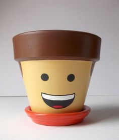 Lego Movie Emmet Hand Painted Flower Pot Gift Set by GingerPots, $15.00