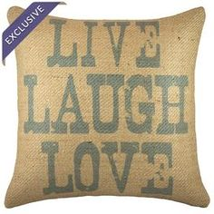 """Handmade burlap pillow with block printing.    Product: PillowConstruction Material: 100% Burlap coverColor: Blue and beigeFeatures:  Handmade by TheWatsonShopReverses to a natural beige burlap backInsert includedMade in the USA Zipper enclosureDimensions: 16"""" x 16""""Cleaning and Care: Spot clean only"""
