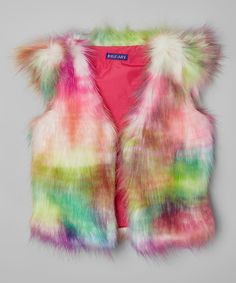 Look at this Kidz-Art Pink & Green Faux Fur Vest - Toddler & Girls on #zulily today!