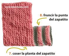 Cómo tejer zapatitos acordeón (con 2 colores en la punta) en dos aguja para bebés Crochet Socks Pattern, Baby Hat Knitting Pattern, Crochet Blanket Patterns, Loom Knitting, Baby Knitting, Crochet Converse, Crochet Baby Shoes, Crochet Baby Booties, Crochet Slippers