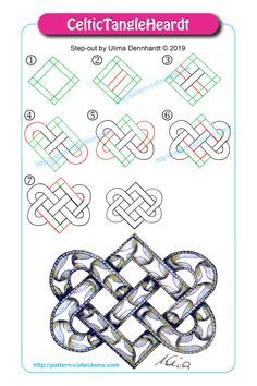 Easy Drawings CelticTangleHeardt by Ulima Dennhardt - Art Doodle, Tangle Doodle, Tangle Art, Celtic Symbols, Celtic Art, Mayan Symbols, Celtic Dragon, Egyptian Symbols, Ancient Symbols