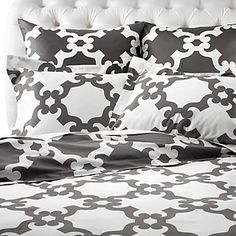 Our Grey Montecito Bedding is a great foundation to yellow accents. $149.95 #zgallerie