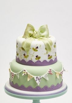 Bunting, Blossoms and Bows 2-tier Celebration Cake by Claire Fitzsimons. Perfect for Mother's day!