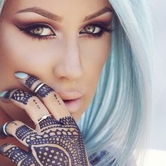 pastel blue hair and body art | chrisspy