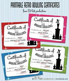 Free Printable Bowling Award Certificates from B.Nute productions. The perfect way to end a Bowling Party.