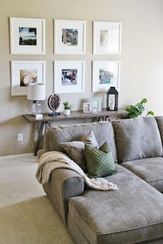 Living Room Decor // Ikea Picture Frame Gallery Wall // Sofa Table Decor // Tucker Up Blog #comfylivingroomdecor