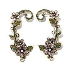 "Heidi Daus ""Fairytale Forest"" Crystal Cuff Earrings"