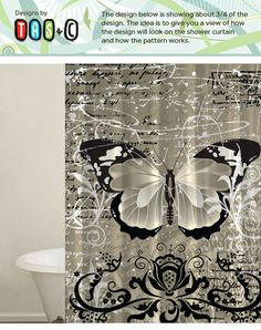 Butterfly Shower Curtain. Custom design with fun colors for any bathroom. Tans, Creams and Black colors. on Etsy, $62.00