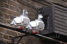 dog gaming tree london Street Art pixel pigeons Wreck-It Ralph Michael Reeve 8-bit lane