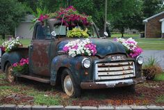 old truck with flowers!