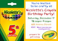 Crayola Birthday Invite Craft Birthday Party Invitation Art Birthday Party Invite kids party invite crayon birthday Paint Birthday Invite. $12.99, via Etsy.