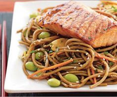 Grilled Salmon Over Soba: Omega-3 rich salmon pairs perfectly over a big bed of buckwheat noodles in this beautiful, pasta-inspired recipe for easy grilled salmon with soba. The incorporation of fiber- and protein-packed edamame is a healthy and delicious way to curb your salty cravings.