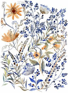 Watercolor Flowers - A gallery-quality illustration art print by Vikki Chu for sale. Art And Illustration, Pattern Illustration, Floral Illustrations, Art Floral, Motif Floral, Floral Prints, Art Prints, Floral Design, Floral Patterns