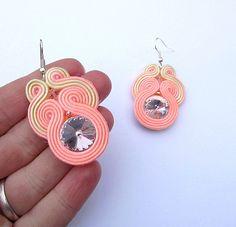 Dangle Earrings Soutache Earrings with Rivoli by StudioGianna, $25.00