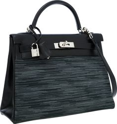 Hermes Limited Edition 32cm Black Calf Box Leather & Vibrato Retourne Kelly Bag with Palladium Hardware