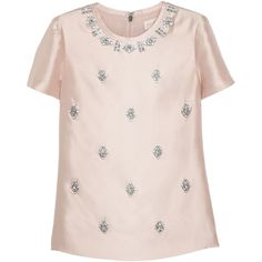 Tory Burch Vesper bead-embellished woven silk top (8,840 MXN) ❤ liked on Polyvore featuring tops, blouses, shirts, pink, blusa, short sleeved, pink silk blouse, silk blouses, short sleeve blouse and tory burch blouse