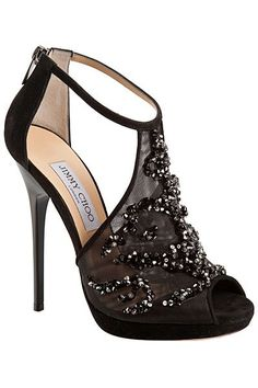 Jimmy Choo Catwalk Black Embellished Mesh Sandal Fall 2013 #Choos #JimmyChoo #Shoes