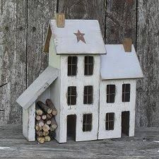Lighted Country Houses and Primitive Saltbox Houses - noch viele weitere auf der. Lighted Country Houses and Primitive Saltbox Houses - many more on the page ! Putz Houses, Saltbox Houses, Wood Houses, Driftwood Crafts, Wooden Crafts, Wooden Diy, Country Crafts, Country Decor, Home Crafts