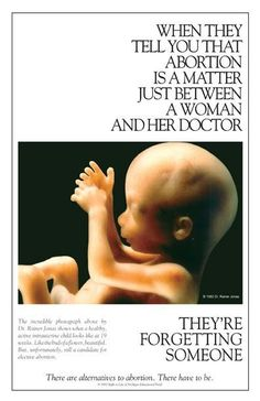 When they tell you that #abortion is a matter just between a woman and her doctor, they're forgetting someone. #prolife [I hung this exact small poster in my dorm room window that faced the commons walkway in 1985. Excellent sign from Last Days Newsletter, Steve and Melody Green's pro-life resource.]