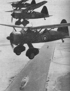 A flight of Westland Lysander Mk Is of No. 208 Squadron flying over the Suez canal at some time between April 1939 and February 1940.
