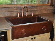 Hammered Copper Kitchen Sink With Bronze Faucet : Copper Kitchen ...